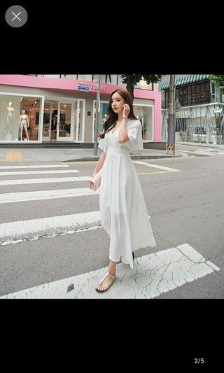 White midi v dress