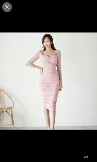 Pink Low cut ruanch dress