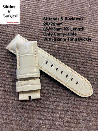 24/22mm XS Short Length Cream Alligator Embossed Calf Leather Watch Strap For Panerai 44mm Models