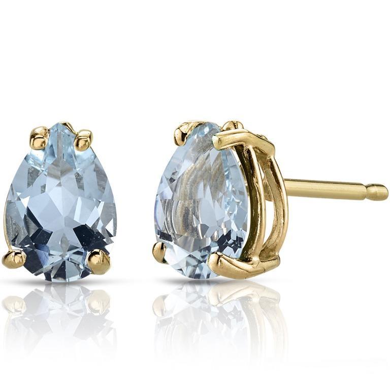 0.9 Carats Aquamarine Stud Earrings 14K Yellow Gold Pear Cut 7 x 5 mm