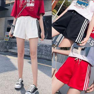 #390 black white red 3 stripes runner shorts sports shorts adidas drawstring