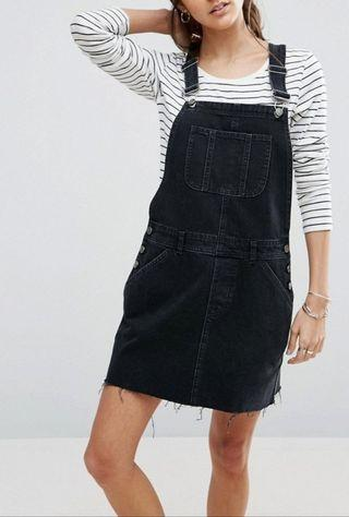 bn cotton on navy blue denim dark acid washed overall dungaree distress frayed dress
