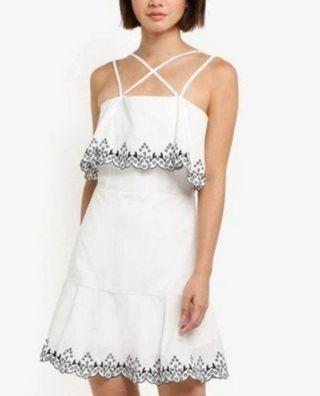 bnwt zalora basics fit and flare white with black embroidery criss cross strap dress