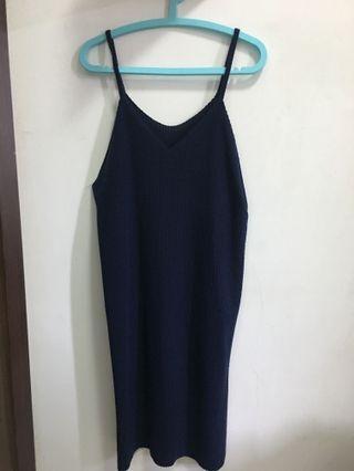 深藍坑條洋裝