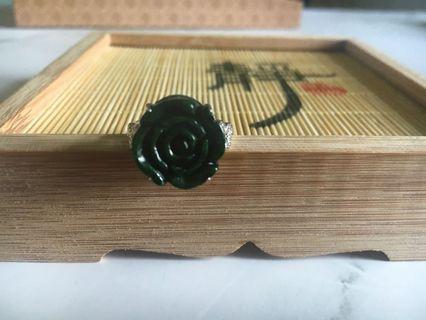 天然緬甸玉A貨翡翠-花青玫瑰戒指
