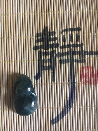 天然緬甸玉A貨翡翠-藍花葫蘆