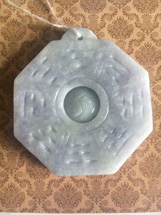 天然緬甸玉A貨翡翠-紫蘿蘭八卦牌