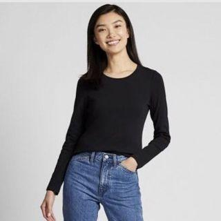 Uniqlo WOMEN Compact Cotton Crew Neck Long Sleeve T-shirt in Navy Blue