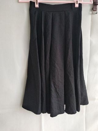 黑裙 鬆緊帶 中長裙 氣質