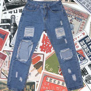 性格の牛仔破褲