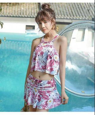 🆕👙 可愛樹葉印花裙式溫泉比基尼 size:M