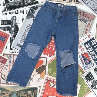 高腰顯瘦の牛仔破褲