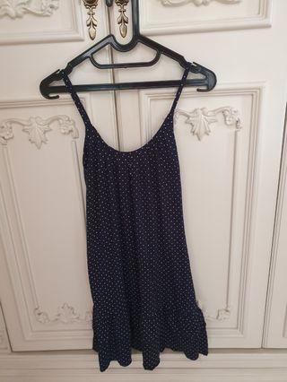 Preloved-Dress navy polkadot