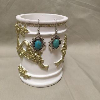 綠松石耳針垂掛耳飾 現貨秒發 實物拍攝 耳針耳環 925純銀