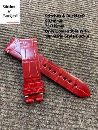 20/18mm Glossy Red Genuine Handmade Alligator Leather Watch Strap