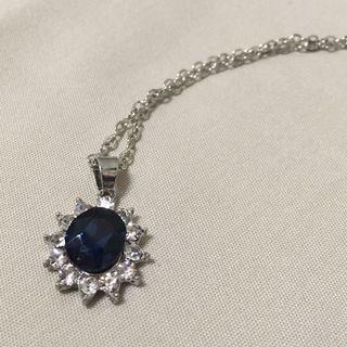 藍寶石碎鑽戒台項鍊 高端大氣 歐美名媛派對必備 時尚項鍊