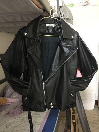 [兩件折百]薄款黑色皮外套夾克