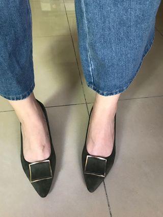 綠色絨面方塊氣質低跟鞋