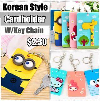 Children Day Gift, Cute Korean Style Korean Style Card Holder With Key Chain / ID Holder / Ez-Link card Holder / Name Tag / Lanyard, Stationery, Birthday, Christmas, Party, Gifts, Goodie Bag, Minion, Melody, Hello Kitty, Totoro, Doraemon, Stitch