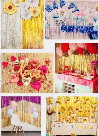 Metallic Tinsel Curtain Party Backdrop 100cm by 300cm