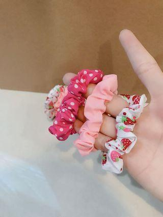 Claire's Kids Baby Girl Cute Strawberry Polka Dot Pink Peach White Elegant Hair Ties Set