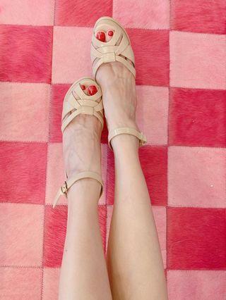 「忠孝sogo購入」ALDO裸膚色高跟涼鞋