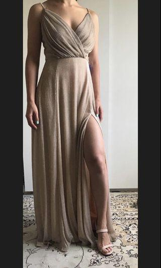 Beige/gold dress size small