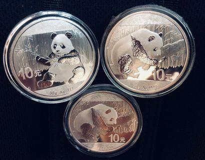 3 x 30g Silver Coin Set - Chinese Panda