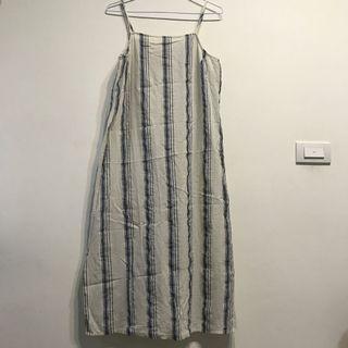 棉麻氣質條紋吊帶洋裝
