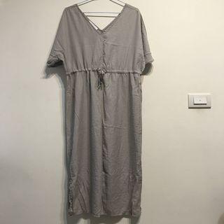 灰色超柔軟質感縮腰綁帶洋裝
