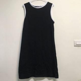 運動風滾邊黑白洋裝