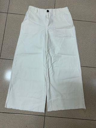 後鬆緊高腰白色寬褲