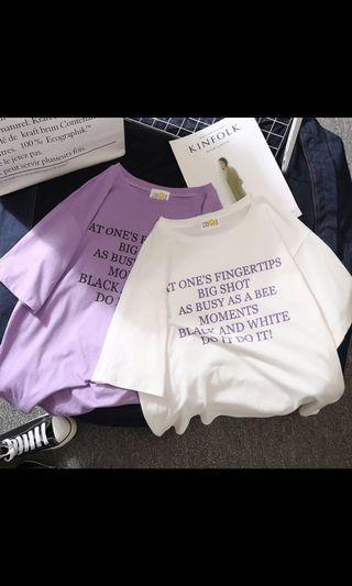 #現貨#文字短袖T 紫色