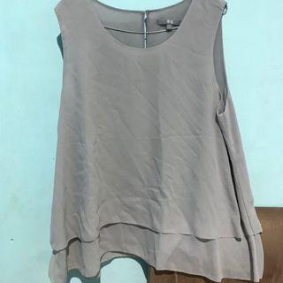 Tank top / blouse uniqlo grey ( abu-abu )