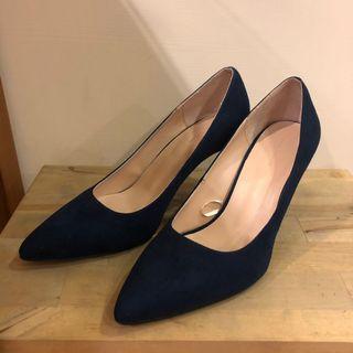 Zara寶藍麂皮高跟鞋 36號