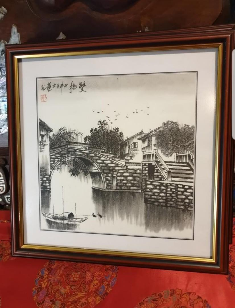 3pcs chinese ink framed old