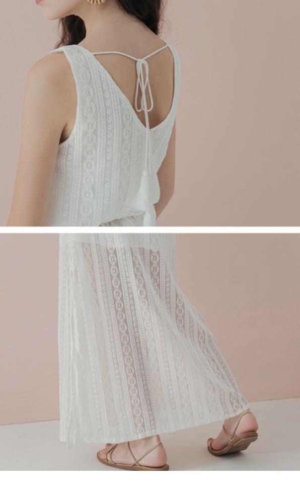 米色蕾絲長洋裝