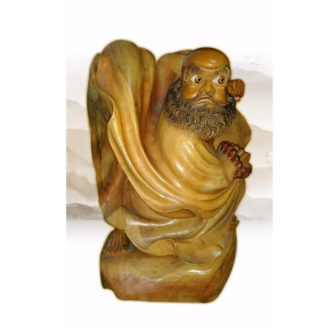 藝術品 木雕品 木雕  持珠達摩   擺飾 約70-80cm 保存良好 限面交