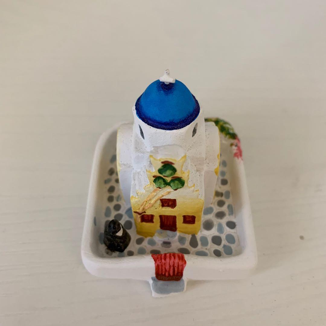希臘 帶回 愛情海 石膏 小房子 擺件 紀念品