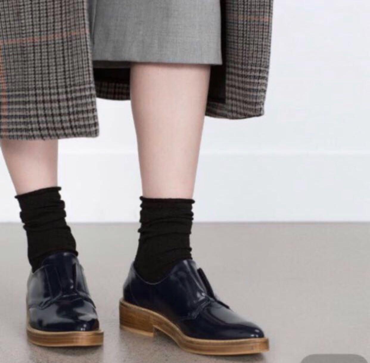 ♥️ Zara Basic navy shoes size 38 深藍 文青 尖頭 牛津鞋