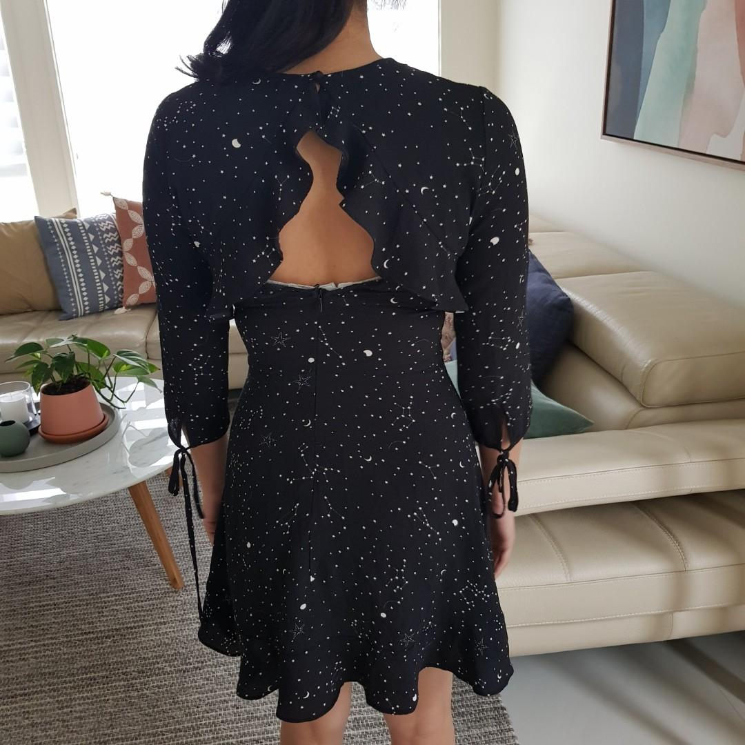 Atmos&Here Black Sleeved Constellation Dress Size S/8