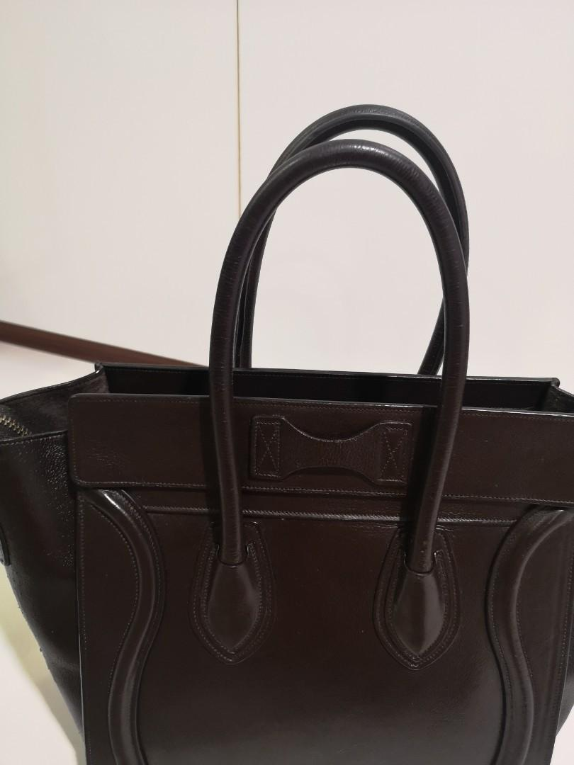 $550 FINAL PRICE // Authentic Celine Micro Luggage Bag in Anthracite