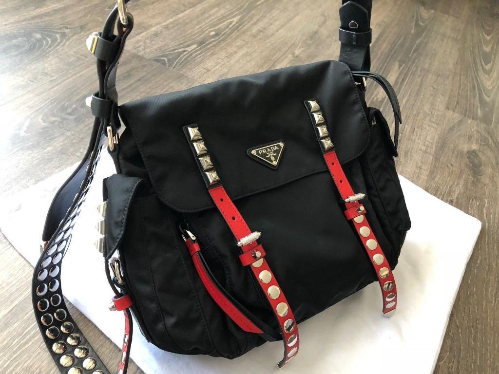 Authentic Prada 1BD118 Nylon 2way Black Nylon Shoulder Bag