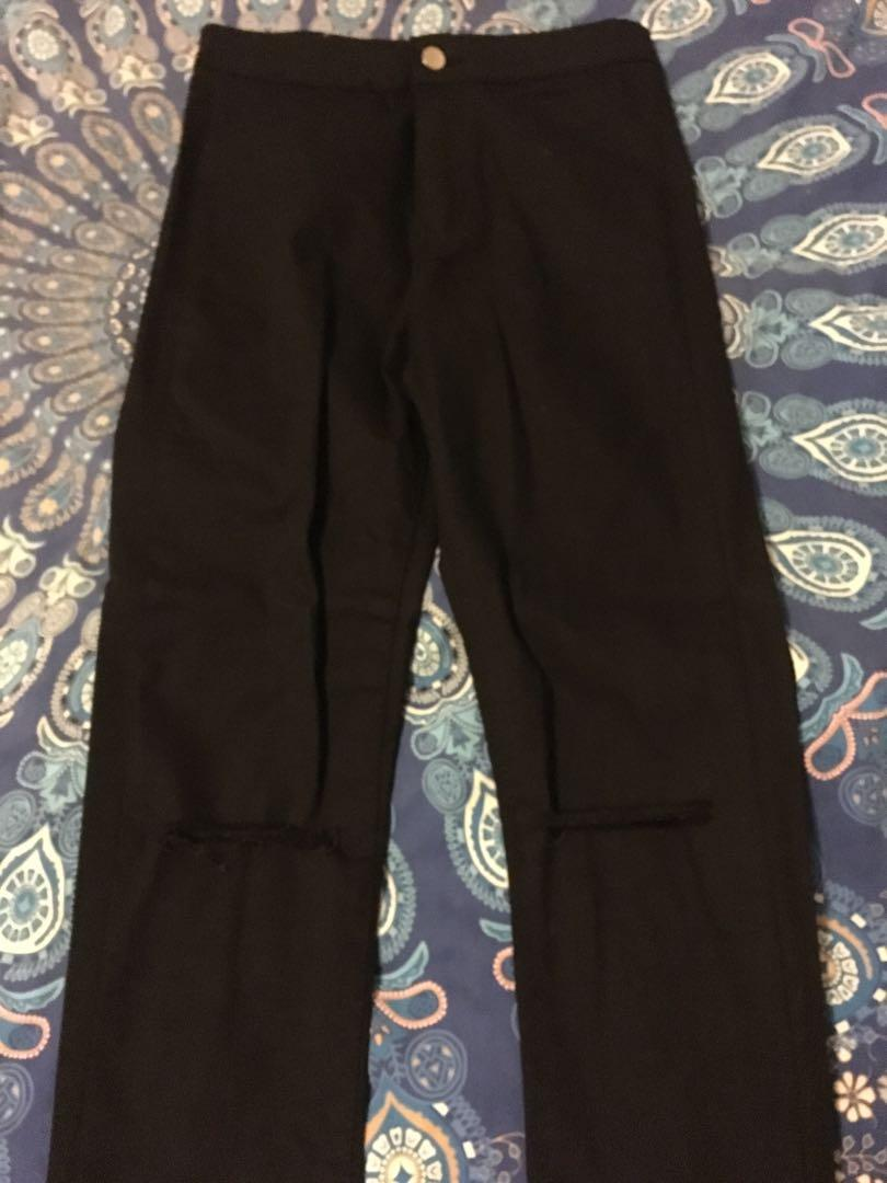 Bnwt Black Ripped Knee High Waisted Jeans Size 8 RRP $49.95