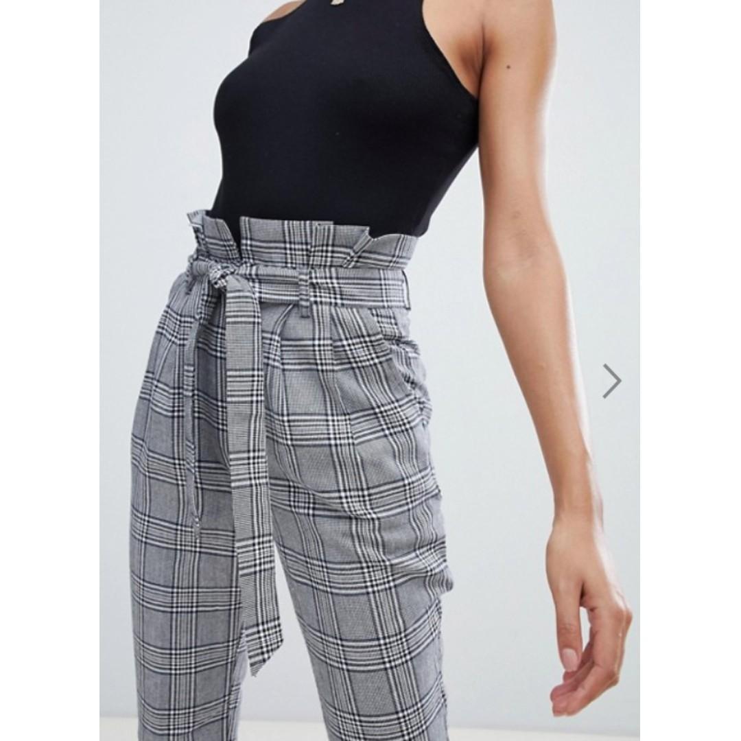 BNWT ASOS Grey Checked Paperbag Pants