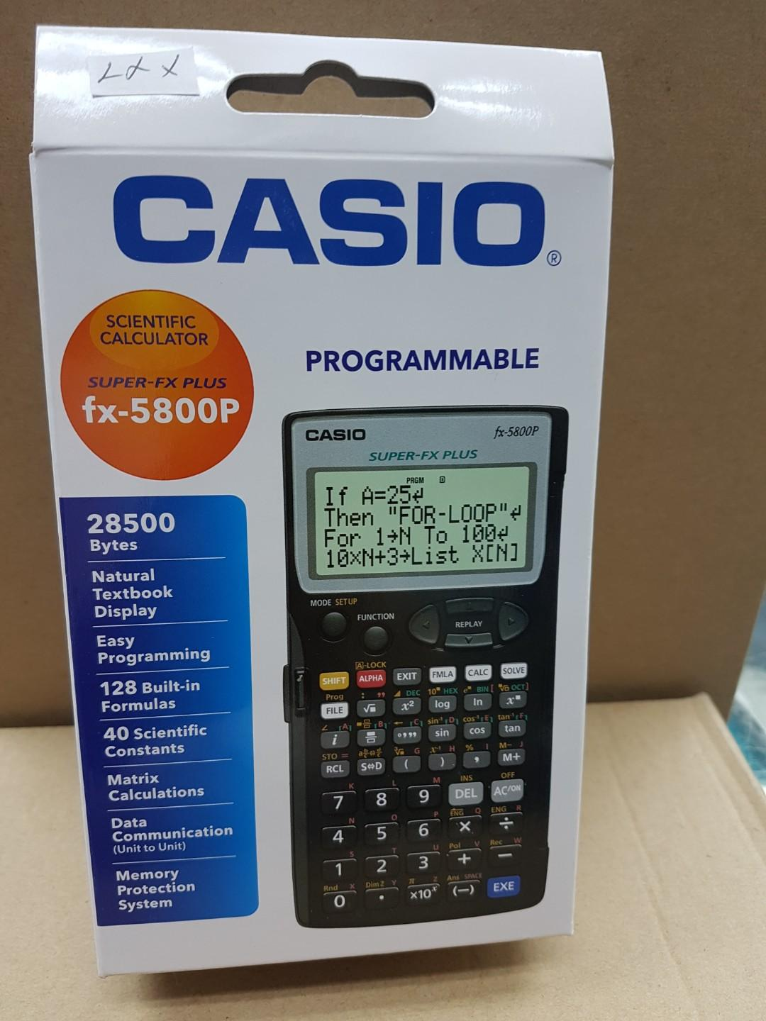 CASIO PROGRAMMABLE  SCIENTIFIC  CALCULATOR FX  5800P