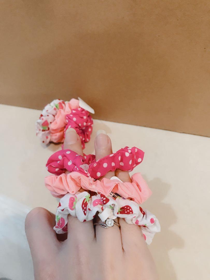 Claire's Kids Baby Girl Cute Strawberry Polka Dot Pink Peach White Elegant Hair Ties Set