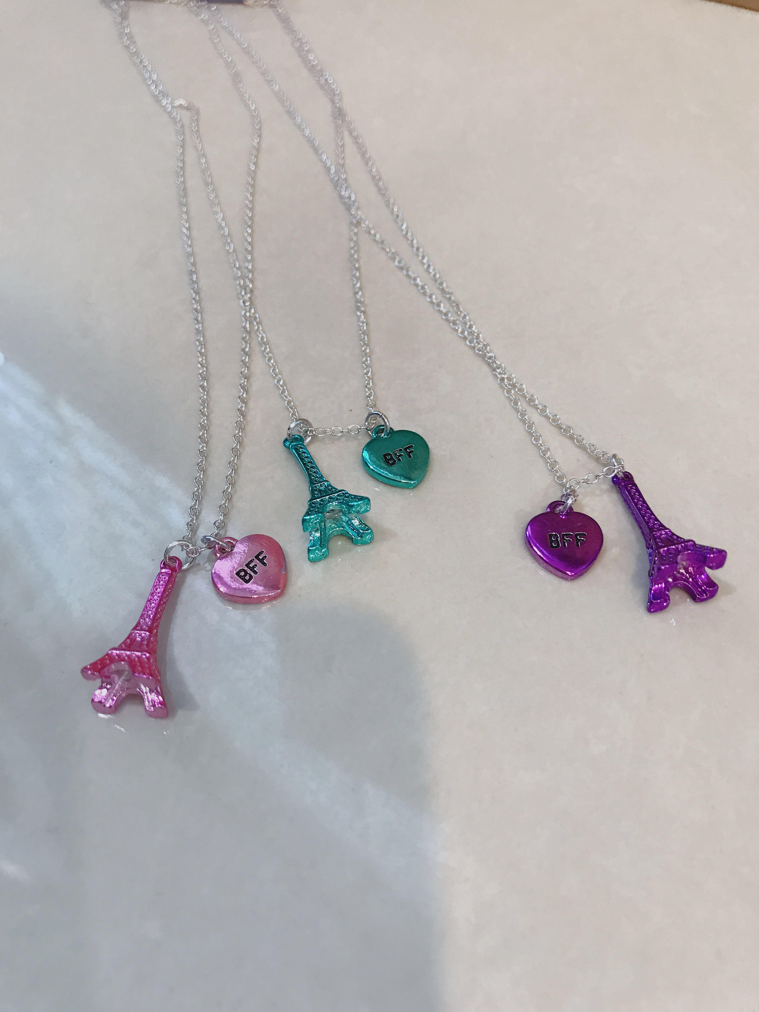 Claire's Women Cute Kids Bff Best Friend Forever Pink, Purple And Mint Green Tiffany Blue Eiffel Paris Tower Friendship Colorful Necklace Set 3 in 1