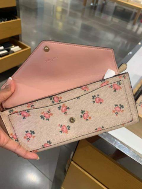 COACH SOFT WALLET WITH FLORAL BLOOM PRINT (COACH F27280) BEECHWOOD FLORAL BLOOM/LIGHT GOLD