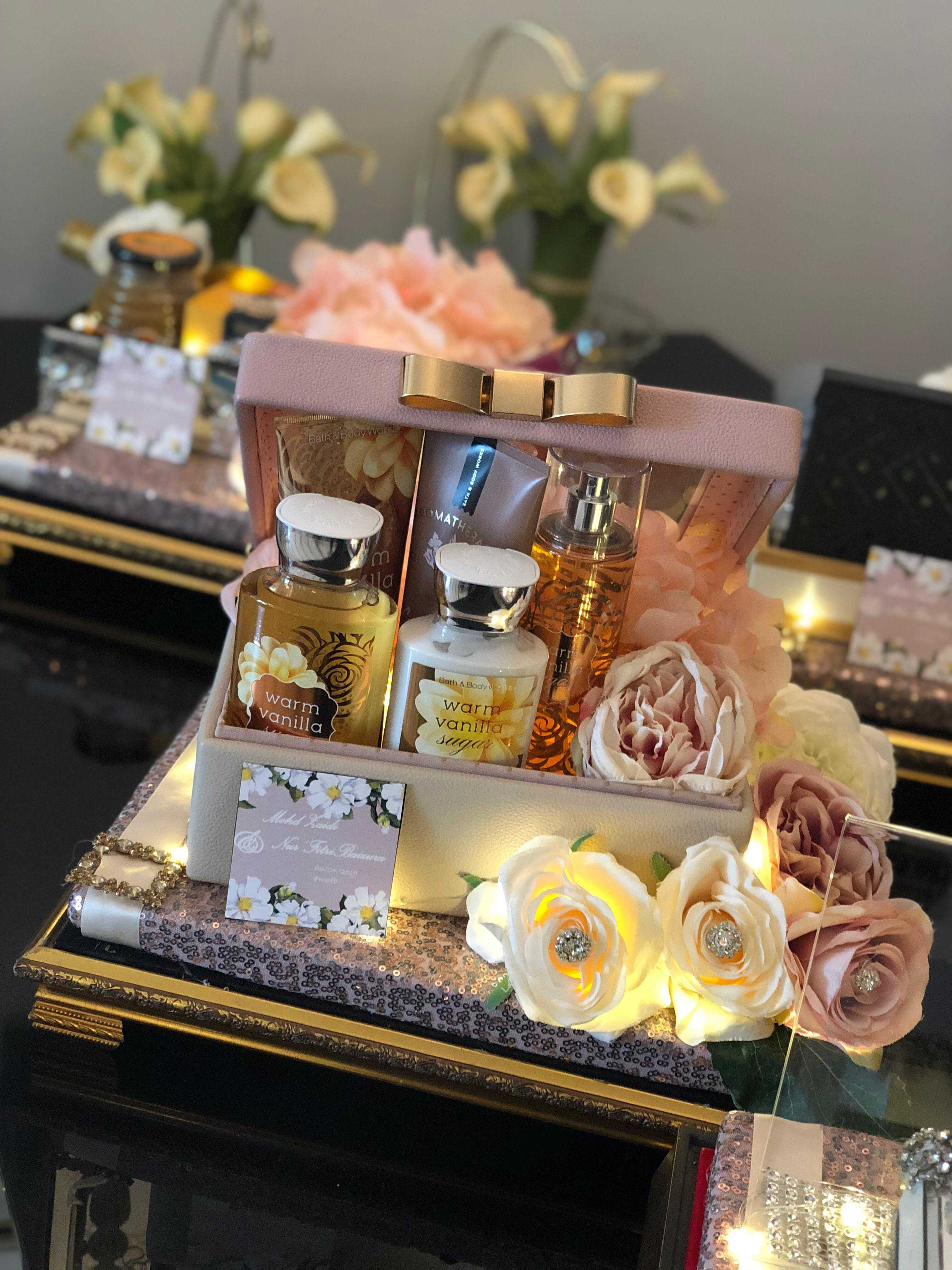 Decorated gold tray with bronzey pink sequin embellishments